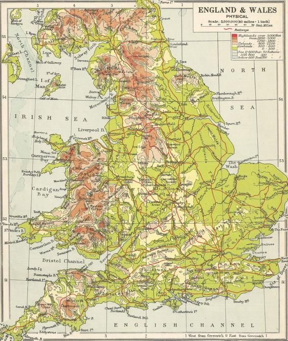 Contour Map Uk England & Wales 1930s British Isles UK Contour Map Antique Gift