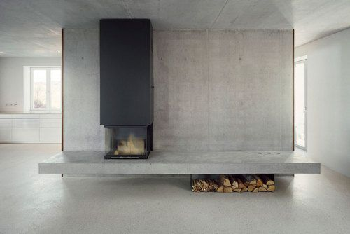 concrete wall divider and fireplace