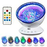 Abco Tech Top Ocean Wave Light Projector- Hi-Tech Upgraded Remote Control 12 LED Ocean Wave Light W/ 7 Colors & Built-In Music Player- Multicolor Relaxing Ambiance In Bedroom Living Room Kids Room