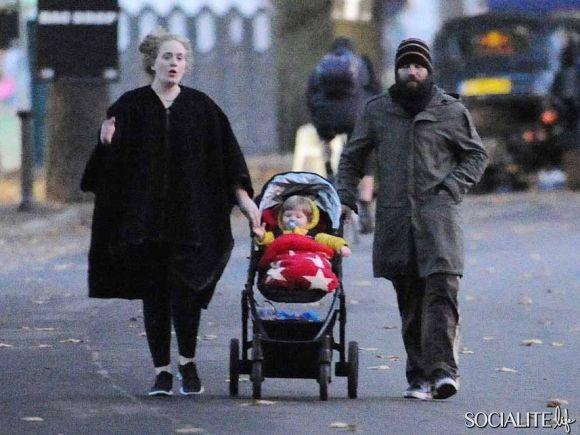 Adele & Simon Konecki Take A Stroll With Son Angelo In London