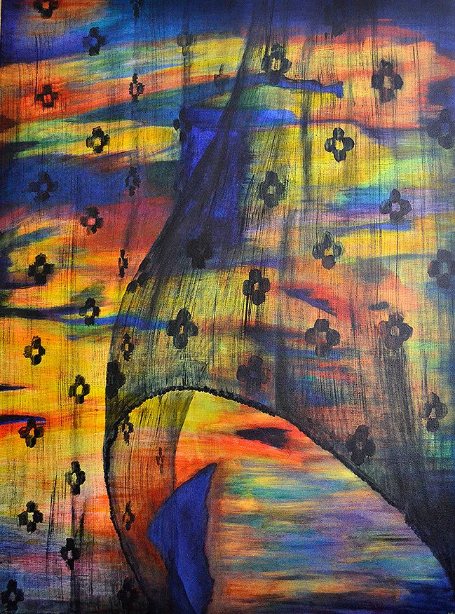 Curtain blowing, original artwork by Kendrea Rhodes