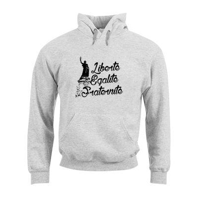 """Sweat Shirt Mixte FRUIT OF THE LOOM Gris Chiné - Sweat Shirt """"Liberté Égalité Fraternité"""" #libertéégalitéfraternité #france #comboutique #tshirtpersonnalisé"""