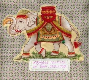 Broderie éléphant : Couverture voyage textile Inde