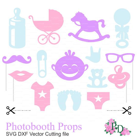 Photo booth props baby shower party (svg, dxf, png file ...