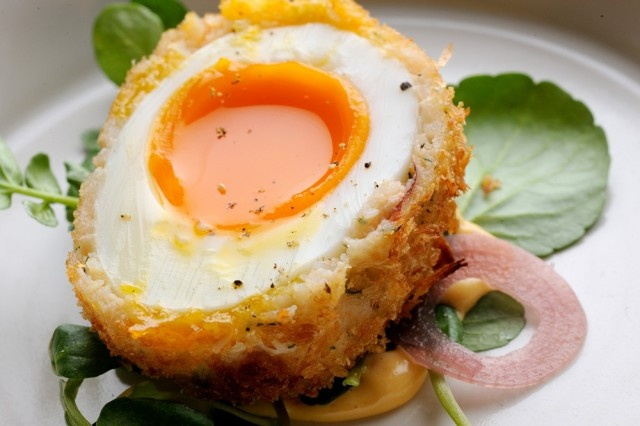 Scotch Egg like no other - from Nathan Outlaw Masterclass with Tom Kerridge.Photography by David Griffen