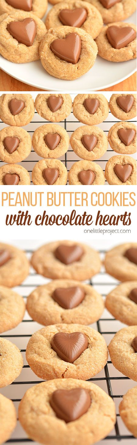 These chocolate heart peanut butter cookies are the EASIEST cookies ever! They only use 3 ingredients plus the chocolate hearts and they and taste amazing!! Found on #thursdayfavoritethings