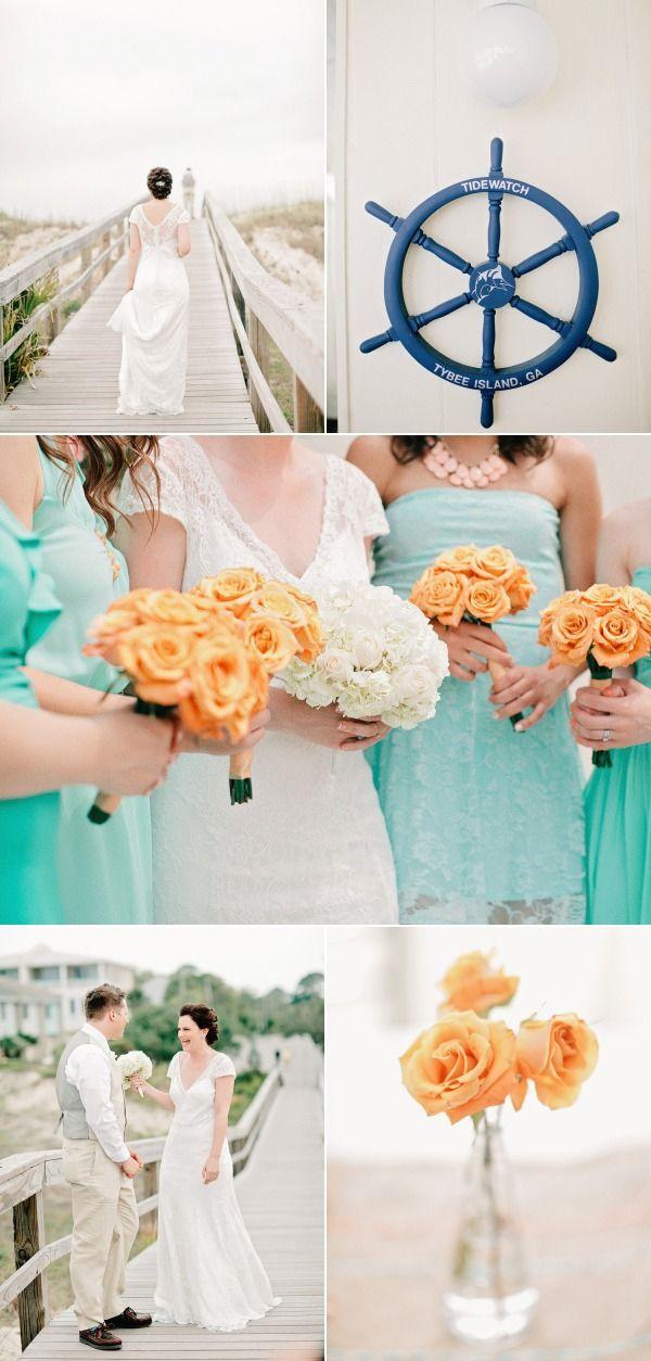 mint / yellow / navy wedding