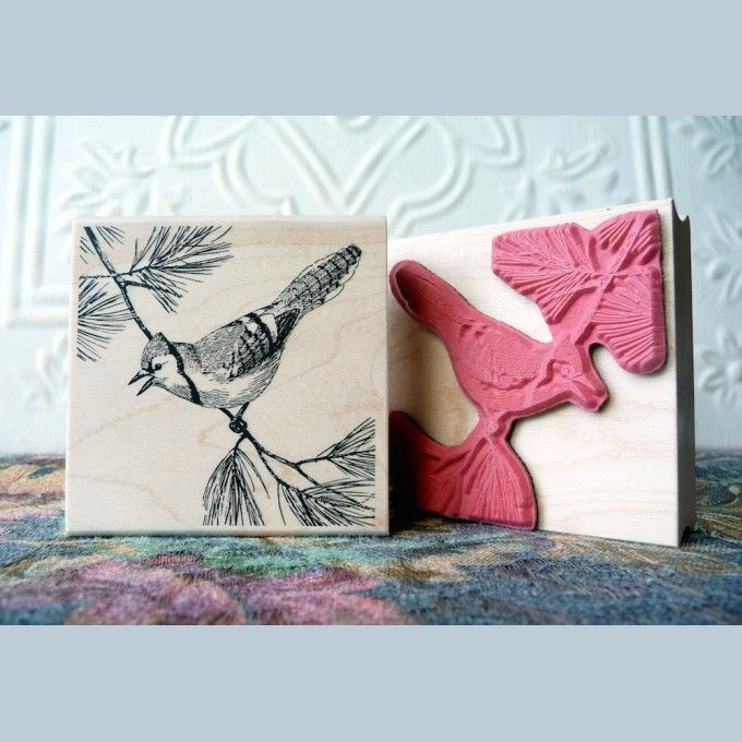 Blue Jay Bird - $5.75 unmounted | Old Island Rubber Stamp Company (6.3.17)