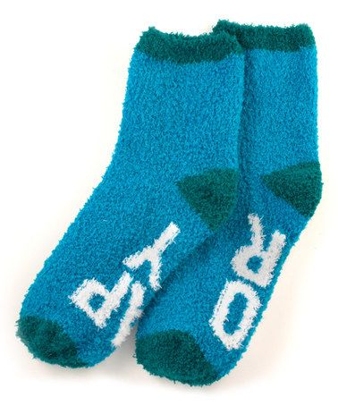 Look what I found on #zulily! Bright Blue 'Happy Hour' Snuggle Crew Socks #zulilyfinds