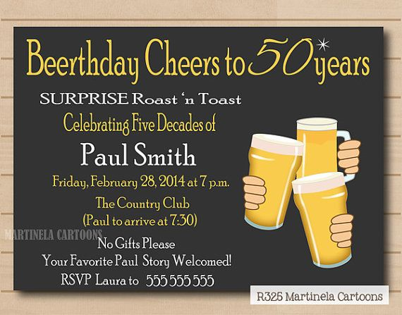 Beer Birthday invitation, chalkboard adult birthday party invitation, 30th 40th 50th 60th beer man invite, You print.