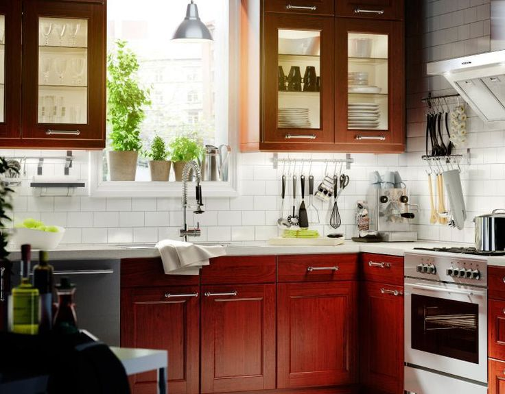 White tile backsplash with cherry cabinets kitchen for Cherry and white kitchen cabinets