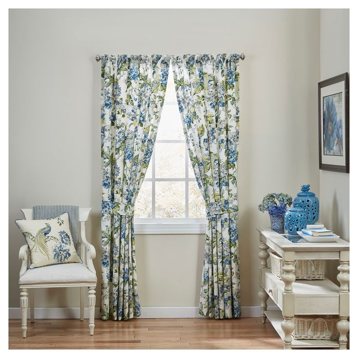 "• 100% cotton construction<br>• Floral pattern<br>• Includes 2 panels<br>• 50Wx84L""<br>• Machine washable for easy care<br><br>Add a bit of country chic to your décor with the Waverly Curtain Panel Pair in Blue/White/Yellow Floral. The burst of flowers displayed in these panels are sure to brighten up any room and make a beautiful statement around your window."
