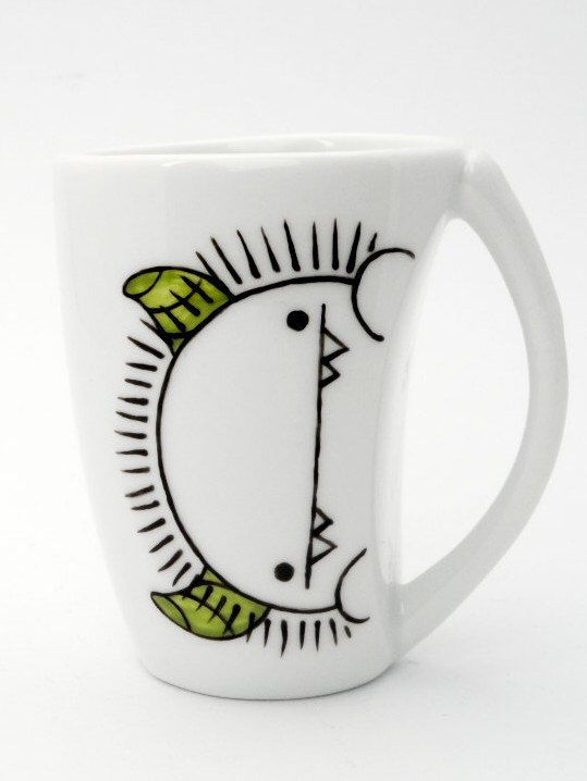 Silly monster with green horns espresso cup and saucer, monster cup, espresso cup and saucer, christmas gift, coffee lover gift by vitaminaeu on Etsy https://www.etsy.com/listing/188719836/silly-monster-with-green-horns-espresso