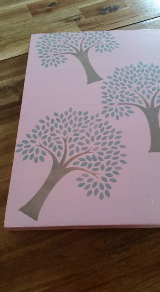 Repurposed chopping board in lovely pastel tones  with Tree of Life stencil 40x45 cms - $40 - will be food safe once curing period is finished - great pastel chalk paint and Tree of Life Stencil and 3 coats of varnish to make it useable  Pick up Deception Bay (can deliver locally for a fee)