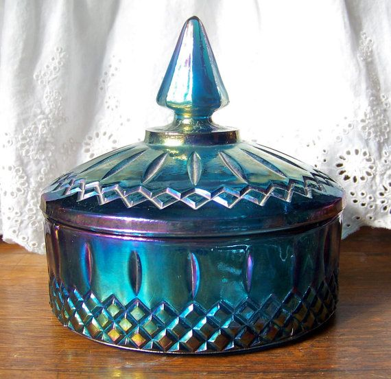 Blue Carnival Glass Candy Dish by cynthiasattic on Etsy, $27.50