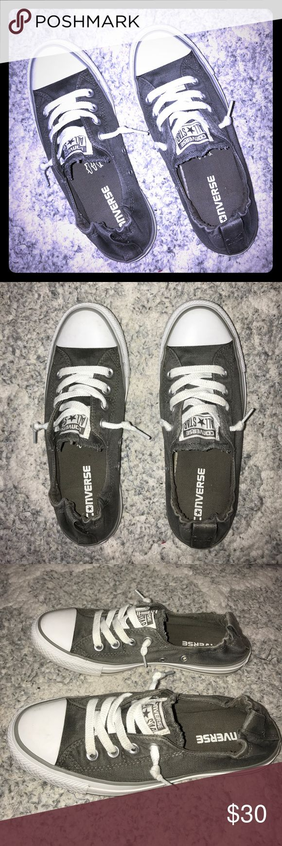 Converse slip on sneakers Elastic band no tie converse. Slate gray. New condition. Converse Shoes Sneakers