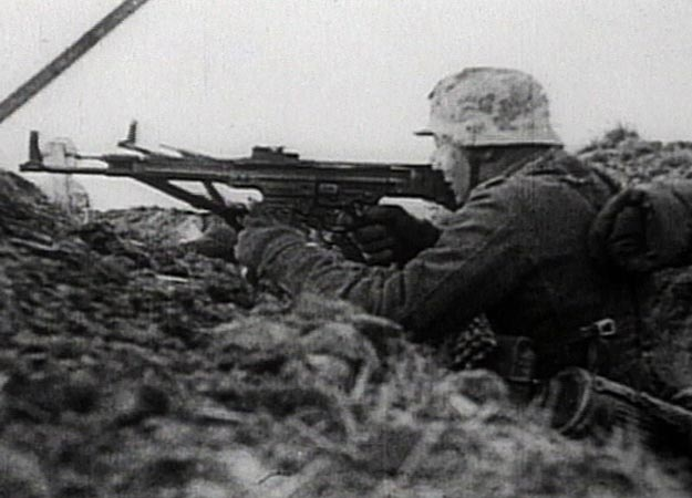 German panzergrenadiers engage advancing Soviet troops in Poland, January 1945.  The gun that inspired the FN 9. STURMGEWEHR 44 Type: Semi or Fully Automatic Assault Rifle Country of Origin: Germany Caliber: 7.92 x 33 mm  Cartridge Capacity: 30 rounds Muzzle Velocity: Approximately 2,133 feet per second Rate of Fire: 500 rounds per minute