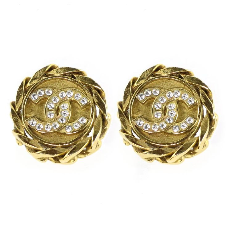 Vintage Signed Chanel Gold Tone Crystal CC Logo Earrings c. 1960 (Clip-On)