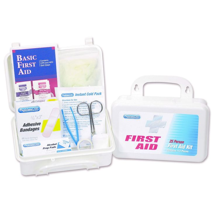 PhysiciansCare by First Aid Only 25 Person First Aid Kit, 113 Pieces/Kit, White