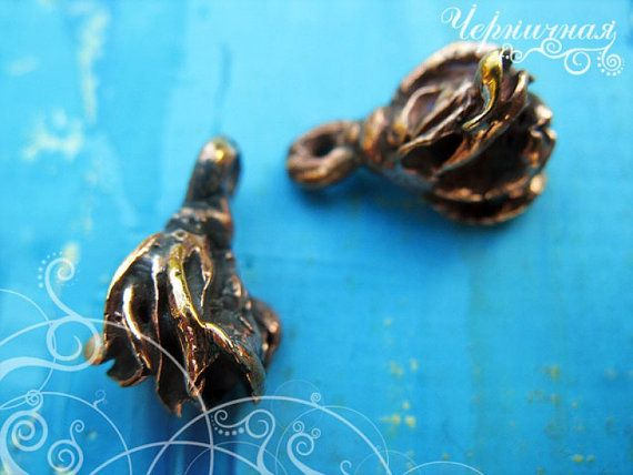 Small antique bronze charm set Seed 2 pieces set by AnnaBronze