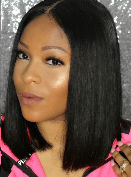 Full Lace Wigs & Lace Front Wigs | RPGSHOW - Bold & Sexy Hair Blunt Cut Bob Black Hair 100% Human Wig - BOB008-s [BOB008] - hair color: #1 hair length: 12