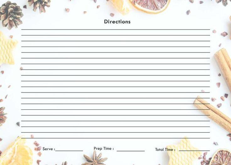 Christmas recipe card printable pdf etsy christmas