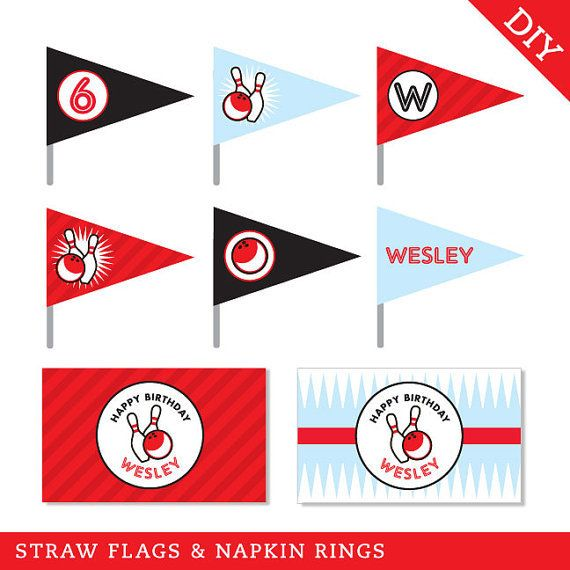 Bowling Party Straw Flags and Napkin Rings (Digital File) - Strike up some fun with this awesome bowling party theme!