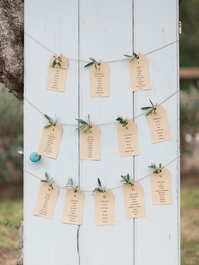 Rustic escort card display: http://www.stylemepretty.com/little-black-book-blog/2016/06/06/rustic-romantic-stylish-portuguese-wedding/   Photography: Love Is My Favorite Color - http://www.loveismyfavoritecolor.com/