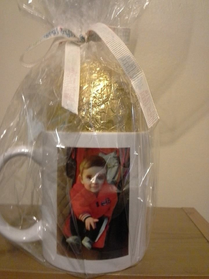 Personalised mug with easter egg. you can go to www.facebook.com/bababaskets for more gifts