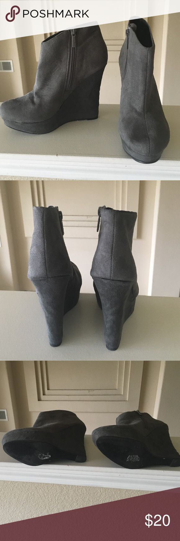 Gray wedge booties Sexy wedges booties are up for sale😀 Michael Antonio Shoes Ankle Boots & Booties
