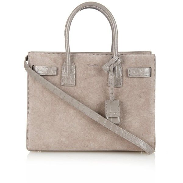 Saint Laurent Sac De Jour small suede tote ($2,125) ❤ liked on Polyvore featuring bags, handbags, tote bags, grey, crocodile tote bag, crocodile purse, crocodile handbag, expandable tote and grey handbags