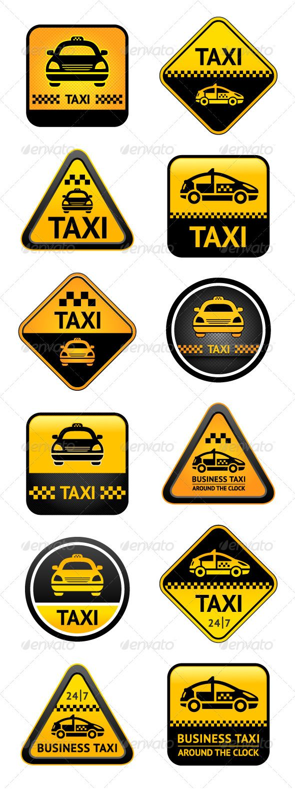 Taxi Set Buttons  #GraphicRiver         Taxi set road signs   Attached ZIP folder contains:  • EPS vector file is saved in file format EPS v. 10 (These are editable vector files)  • Illustrator CS4  • PSD (layered)  • PDF  • JPG image has high resolution 2480×6626 pixels  • Available RGB color   Please don't forget to rate if you like it! Thank you    You can see my other Set taxi:            Created: 16December12 GraphicsFilesIncluded: PhotoshopPSD #JPGImage #VectorEPS #AIIllustrator…