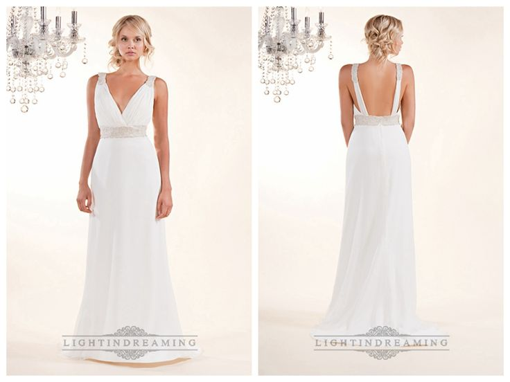 Sheath Plunging V-neck Wedding Dresses with Beaded Straps and Belt
