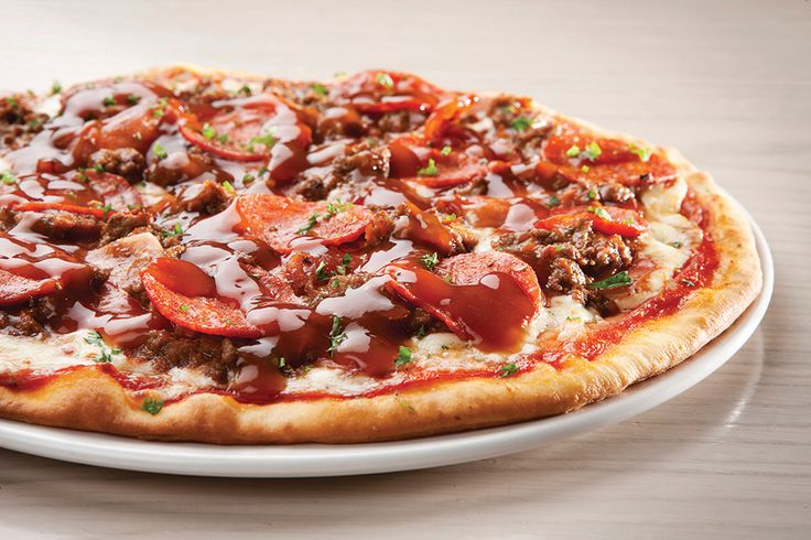 Saucy Gourmet - Meat Supreme. Bacon, ham, Italian sausage and Bolognaise mince, drenched in our cheesy BBQ sauce | Panarottis http://www.panarottis.co.za/ourmenu/pizza