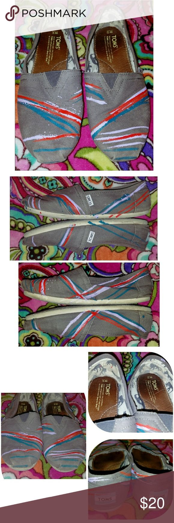 """TOMS Ltd Edition Gray Handpainted Paint Splatter ~ TOM'S Slip on Flat Classic Canvas Shoes ~ Women's Size 8.5 ~  These cute & comfy shoes are Gray with a """"Paint Splatter"""" Striped design painted on in purple, blue & red (Hand Painted by Artist for TOMS)  Lots of life left in these cute shoes! Canvas is in good condition as well as the paint. Normal wear to insole and outer sole, some discoloration to white around sole & Slight fade at bottom of front toe. No holes/major wear. TOMS Shoes Flats…"""