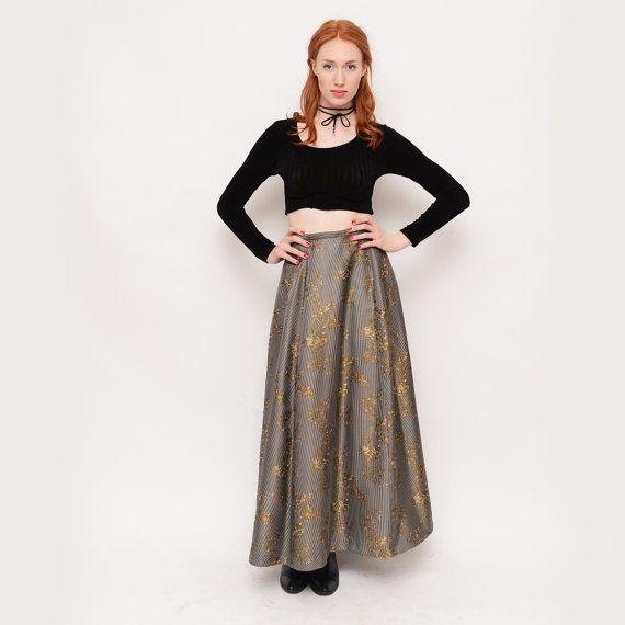 90s High Waisted  Crinoline Skirt  Printed Grey by TheWanderly