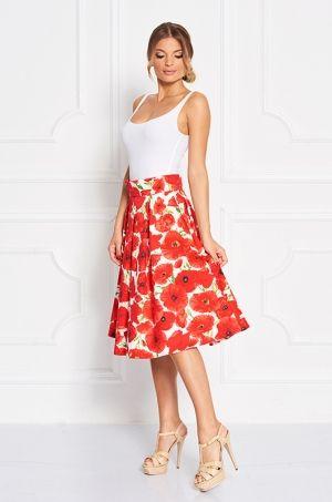 Midi sukňa s výraznou potlačou divých makov. K tomuto výraznému kúsku zvoľte jednoduchý top a zažiarte na akejkoľvek spoločenskej udalosti či v bežnom dni.
