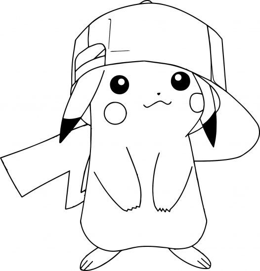 pikachu coloring pages wearing hat