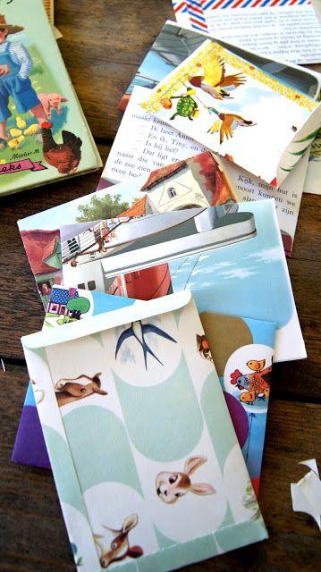 enveloppen uit oude boeken en van ander mooi papier, DIY