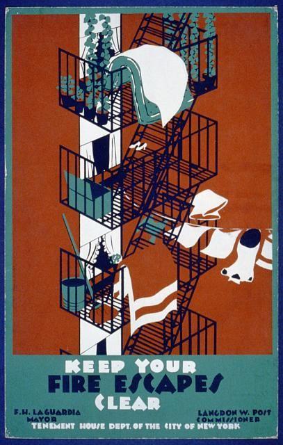 public safety, public housing, public service announcement, new york, graphic design, free download, vintage, vintage posters, retro prints, classic posters, Keep Your Fire Escapes Clear - Vintage Public Safety Poster