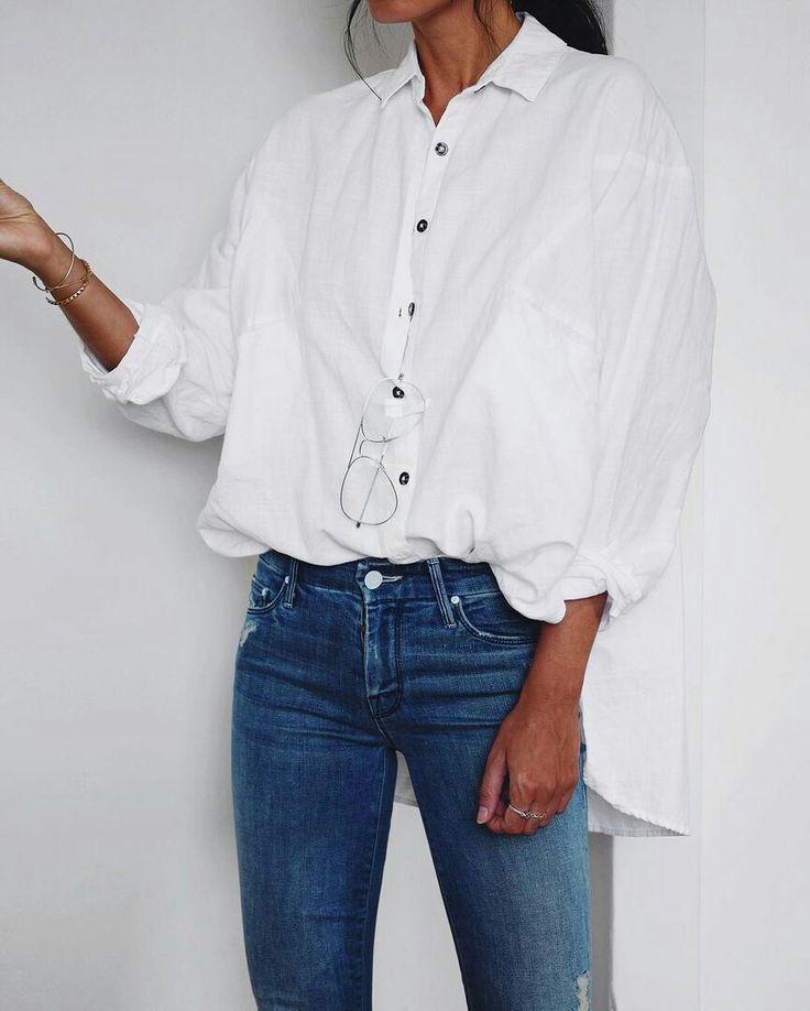 White shirt, jeans