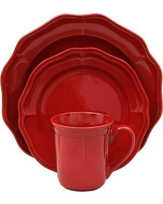 Better Homes & Gardens, Simply Fluted Dinnerware set in Red Garnet