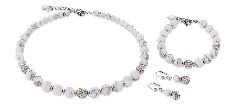 Swarovski Howlite white set 4831_1400 – coeur de lion jewellery