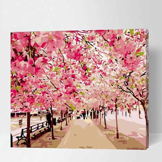 Cherry Blossoms Sakura Paint By Number Kit Gift For Her Etsy Paint By Number Cherry Blossom Painting Paint By Number Kits