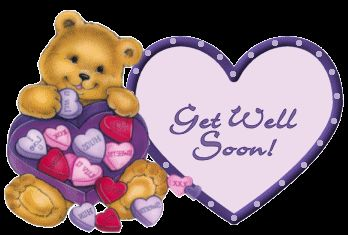 Get Well Soon Small Heart Teddy Bear Graphic