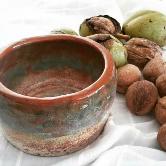 From first pottery works at the course. #Patina effect #handmade #ceramic bowl #throwing