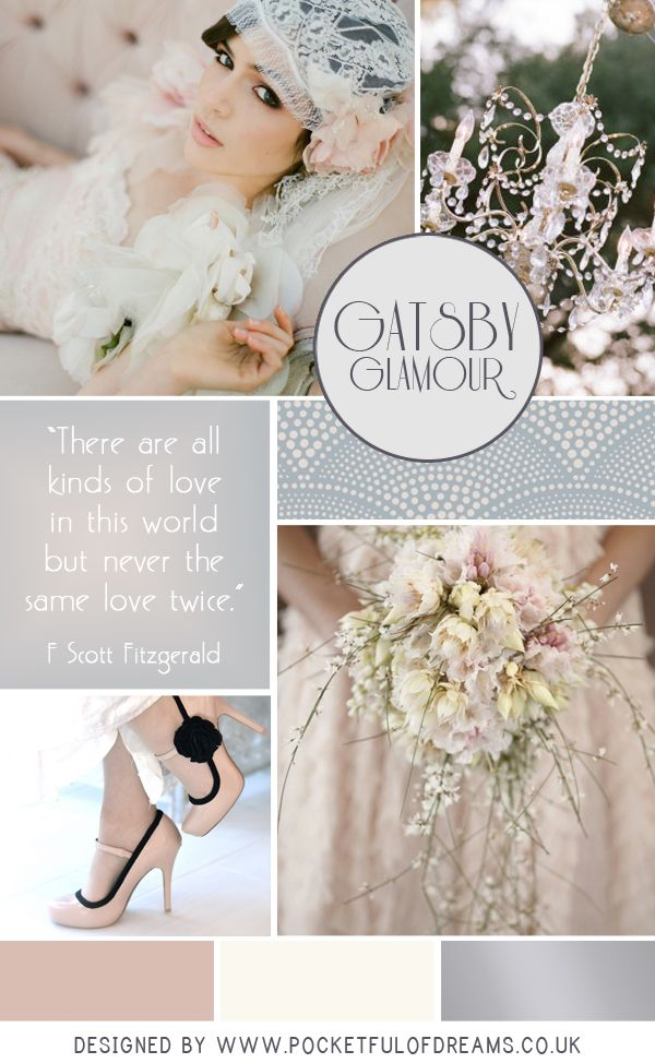 Gatsby Glamour is all about evoking the fantasy of the era but maintaining a soft prettiness. This look therefore is delicate and beautiful, working with a colour palette of dusky pink, creams and dove grey to create a look that is undeniably full on glamour and decadence but yet gentle, nostalgic and romantic.