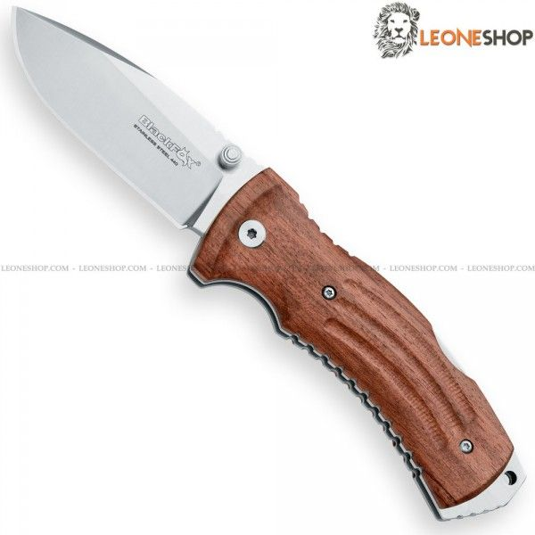 "BLACK FOX KUMA Folding hunting knife BF-703, folding hunting knives with blade of 440C stainless steel of high quality with satin finishing - HRC 57/59 - Blade lenght 3.1"" - Thickness 0.16"" - Handle made with two steel liners and inserts of Pakkawood an engineered material made ​​of Wood/Plastic very similar to real wood - Back Lock system - Back clip - Overall lenght 7.6"" ​​- Equipped with brown leather sheath - Design by Antonio Di Gennaro..."