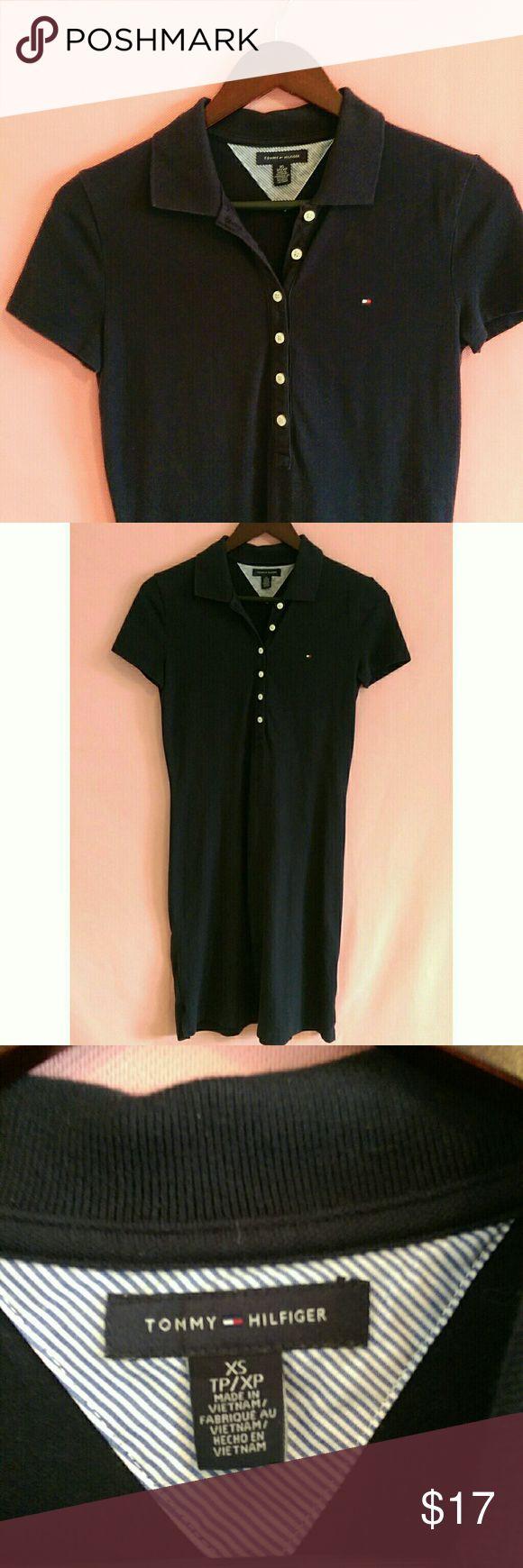 XS Tommy Hilfiger T-shirt Collar Dress Pretty XS Tommy Hilfiger Black button up Polo collar dress in great condition!   Size:XS Tommy Hilfiger Dresses