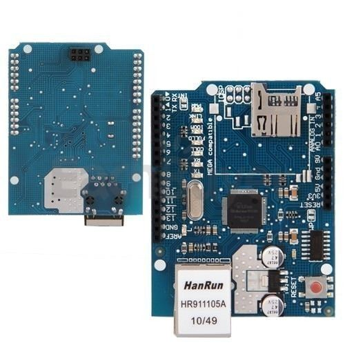 The Arduino Ethernet Shield W5100 connects your Arduino to the internet in mere minutes. Just plug this module onto your Arduino board, connect it to your network with an RJ45 cable (not included) and follow a few simple instructions to start controlling your world through the internet.